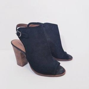 Lucky Brand Women Lisza Black Leather Booties 7.5